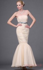 Pearl Pink 100D Chiffon Trumpet/Mermaid Strapless Floor-length Prom Dress(BD04-453)