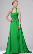 Clover 100D Chiffon A-line Halter Floor-length Prom Dress(BD04-456)