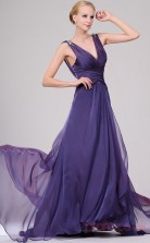Lavender 30D Chiffon A-line V-neck Floor-length Prom Dress(BD04-458)