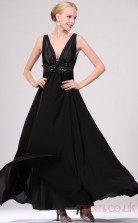 Black 100D Chiffon A-line V-neck Long Evening Dress-(BD04-459)
