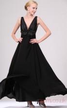 Black 100D Chiffon A-line V-neck Long Evening Dress-(BD04-459)