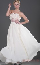 Ivory 100D Chiffon A-line Strapless Floor-length Prom Dress(BD04-461)