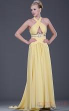 Yellow 100D Chiffon A-line Halter Floor-length Prom Dress(BD04-463)