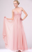Pink 100D Chiffon A-line Sweetheart Strapless Long Evening Dress-(BD04-465)