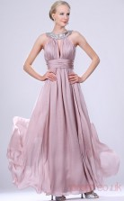 Lavender 100D Chiffon A-line Jewel Floor-length Prom Dress(BD04-468)