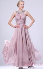 Lavender 100D Chiffon A-line Jewel Floor-length Prom Dress(BD04-468)