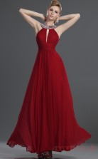 Red 100D Chiffon A-line V-neck Floor-length Prom Dress(BD04-469)