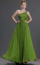 Lime Green 100D Chiffon A-line Off The Shoulder Floor-length Prom Dress(BD04-471)