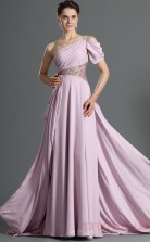 Lavender 100D Chiffon A-line One Shoulder Floor-length Prom Dress(BD04-475)