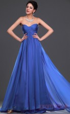 Ocean Blue 100D Chiffon A-line Sweetheart Strapless Long Evening Dress-(BD04-477)