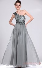 Silver 100D Chiffon A-line One Shoulder Long Evening Dress-(BD04-479)