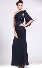 Ink Blue 100D Chiffon Sheath/Column One Shoulder Floor-length Prom Dress(BD04-480)