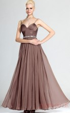 Brown 100D Chiffon A-line Straps Sweetheart Floor-length Prom Dress(BD04-485)