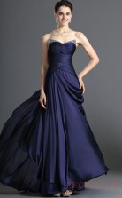 Dark Navy Satin Chiffon A-line Sweetheart Floor-length Prom Dress(BD04-487)