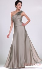 Silver Matte Satin A-line One Shoulder Floor-length Prom Dress(BD04-489)