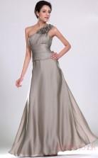 Silver Matte Satin A-line One Shoulder Floor-length Prom Dress(BD04-489)