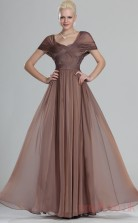 Brown 100D Chiffon A-line One Shoulder Floor-length Prom Dress(BD04-493)
