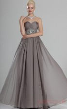 Silver 100D Chiffon A-line Strapless Sweetheart Floor-length Prom Dress(BD04-494)