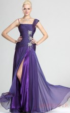 Lavender 30D Chiffon Trumpet/Mermaid Straps Floor-length Prom Dress(BD04-498)
