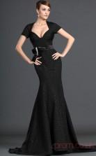 Black Satin Trumpet/Mermaid Scalloped Floor-length Prom Dress(BD04-500)
