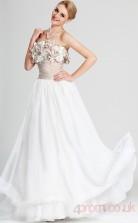 White 100D Chiffon A-line Strapless Floor-length Prom Dress(BD04-502)
