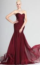 Burgundy 100D Chiffon Trumpet/Mermaid Off The Shoulder Sweetheart Floor-length Prom Dress(BD04-507)