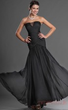 Black 100D Chiffon Trumpet/Mermaid Strapless Floor-length Prom Dress(BD04-511)