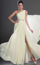 Ivory 100D Chiffon A-line One Shoulder Floor-length Prom Dress(BD04-518)
