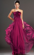 Fuchsia 100D Chiffon A-line Strapless Floor-length Prom Dress(BD04-520)