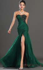 Dark Green 30D Chiffon Trumpet/Mermaid Strapless Sweetheart Floor-length Prom Dress(BD04-522)