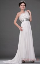 Ivory 100D Chiffon A-line One Shoulder Floor-length Prom Dress(BD04-524)