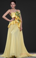 Yellow 100D Chiffon A-line Strapless Sweetheart Floor-length Prom Dress(BD04-525)