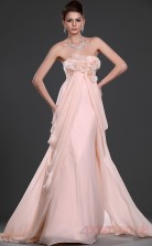 Pink 100D Chiffon A-line Strapless Floor-length Prom Dress(BD04-529)