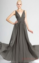 Silver 100D Chiffon A-line V-neck Long Evening Dress-(BD04-536)