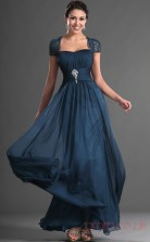 Ink Blue 100D Chiffon A-line Off The Shoulder Floor-length Prom Dress(BD04-537)