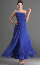 Royal Blue 100D Chiffon A-line One Shoulder Long Evening Dress-(BD04-541)