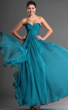 Ocean Blue 100D Chiffon A-line Sweetheart Strapless Long Evening Dress-(BD04-544)