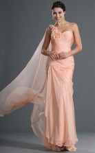 Pearl Pink 100D Chiffon Trumpet/Mermaid One Shoulder Floor-length Prom Dress(BD04-545)