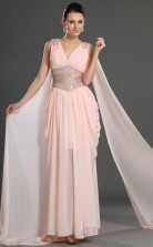 Pink 100D Chiffon Sheath/Column V-neck Floor-length Prom Dress(BD04-547)