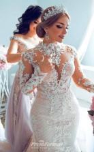 Mermaid Long Sleeve TULLE BEADING PAILLETTE WEDDING DRESS BWD001