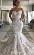 MERMAID SWEETHEART LONG TRAIN TULLE Lace APPLIQUE WEDDING DRESS BWD002