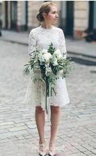 Vintage Lace Long Sleeve Short Bridal Dress BWD003