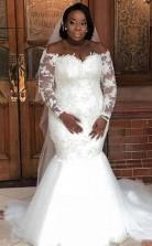 Plus Size Long Sleeve Lace Applique Mermaid Wedding Dresses BWD004