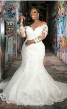 Plunging Neck Long Sleeve Lace Mermaid Wedding Dress BWD005
