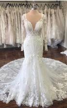Lace Long sleeves Mermaid White Court Train Long Wedding Dress BWD006