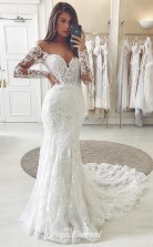 Strap Sweetheart Sweep Lace Mermaid Fitted Wedding Dresses BWD007
