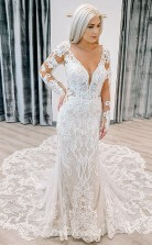 Long Sleeve Plunging Deep V Neck Lace Mermaid Wedding Dress BWD009