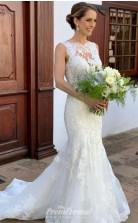MERMAID ROUND COLLAR FLOOR LENGTH WEDDING DRESS Petite Brides BWD013