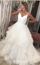 Ball Gown V Neck Spaghetti Straps Open Back Wedding Dresses BWD016