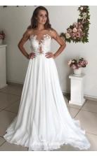Simple Applique Pearls Summer Beach A Line Petite Brides Wedding Dresses BWD018